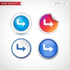 Colored icon or button of right arrow symbol with background