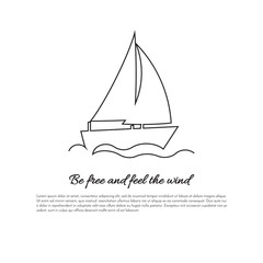 One continuous line sailing boat on waves with sign
