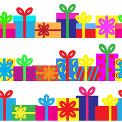 Set of seamless series of gift boxes.