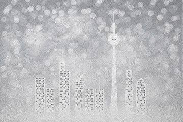 Winter city frosted glass texture as background
