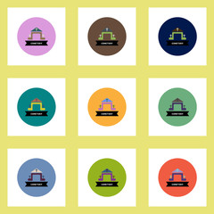 Collection of stylish vector icons in colorful circles building cemetery