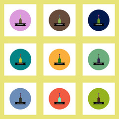 Collection of stylish vector icons in colorful circles building lighthouse