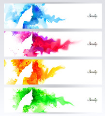 Beautiful abstract woman face silhouettes are on the abstract colorful watercolor backgrounds. Set of four headers for banners.