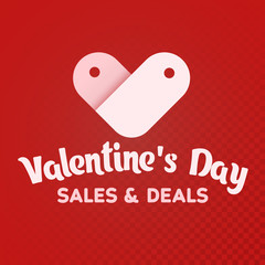 St. Valentine's Day. Sale and deals. White label sale shaped heart on a red background. Logo for the advertising banner and promotions. The isolated heart icon. Vector illustration