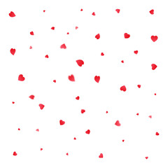 Valentines Day greeting card. Petals falling on white background