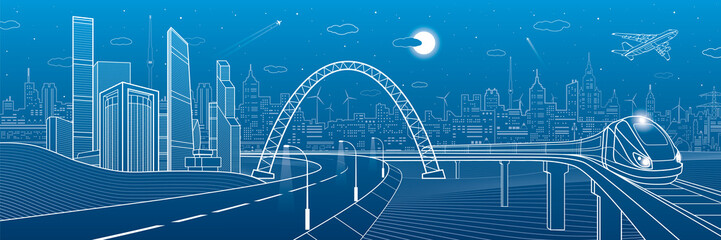 Highway under the bridge. Train rides. Night neon city on background, business buildings, towers and skyscrapers on skyline, infrastructure panorama, airplane fly, urban scene, vector design art