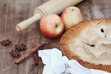 Apple Pie with Rolling Pin and Ingredients
