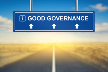 good governance words on blue road sign