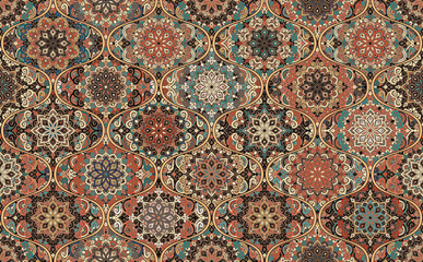 Brown Background Round Tile Mandala Ogee