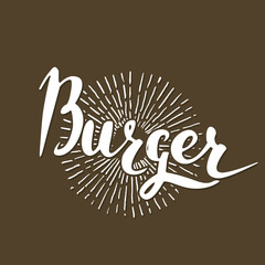 Vector handwritten brush script. White letters isolated on brown background. Burger with burst