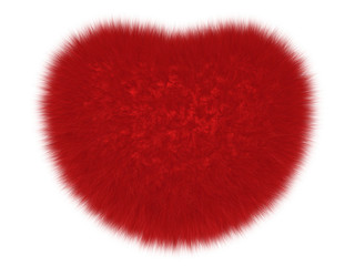 Furry love heart isolated on white. Fur symbolic heart as an explicit object for any amorous themes decoration. Wall mural