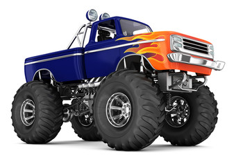 Monster truck. Big foot. 3d image isolated on white