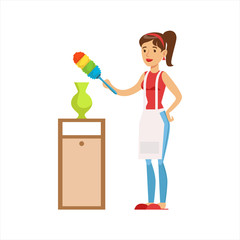 Woman Housewife Wiping The Dust Of Vase WIth Brush, Classic Household Duty Of Staying-at-home Wife Illustration