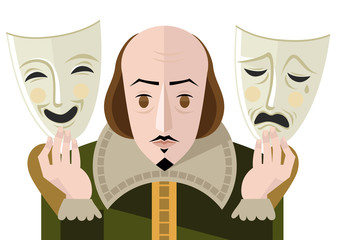 great english playwright with theater sad and happy masks