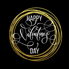 Valentine day gold love heart glitter greeting card