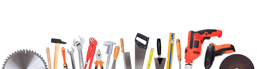 Set of hand tools isolated on white background, banner