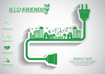 Ecology connection electrical plug concept background . Vector i