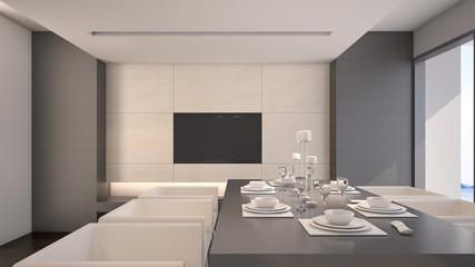 Dining room in luxury house / 3D Rendering
