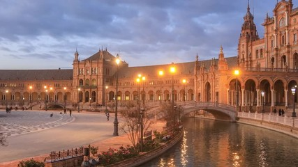 Fototapete - Panorama of Plaza de Espana in the evening in Seville, Andalusia, Spain