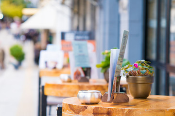 Cafe table in street