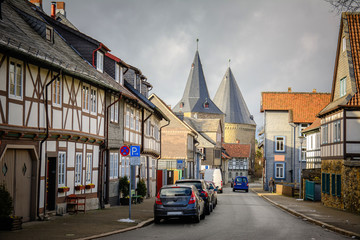traditional half timbered houses at goslar, germany