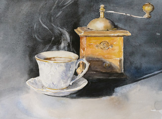 Cup of aromatic coffee with an old coffe grinder in the background.Picture created with watercolors.
