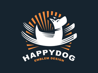 Happy dog logo - vector illustration, emblem on dark background