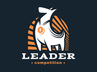 Winner dog logo - vector illustration, emblem on dark background