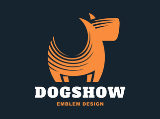 Dog logo - vector illustration, emblem on dark background