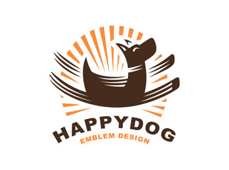 Happy dog logo - vector illustration, emblem on white background