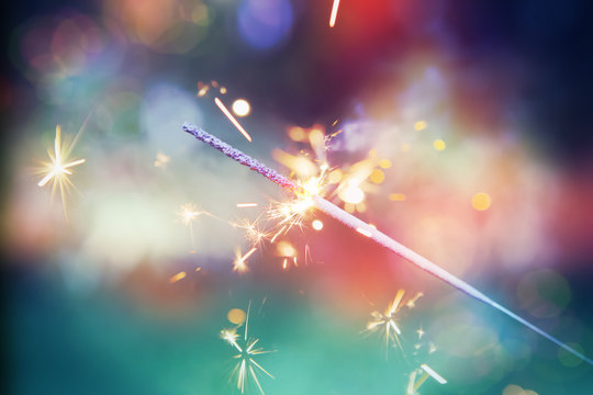 Colorful sparkler.  Shallow focus. Instagram effect