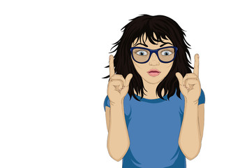 Little girl with glasses in shock from the new ideas and gestures index fingers of both hands upward. Vector illustration in pop art style on a white background. Empty space for your advertising