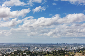 Los Angeles skyline with clouds and sky
