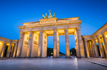 Berlin Brandenburg Gate illuminated in twilight, Berlin, Germany