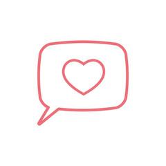 love heart, speech bubble, dialog box icon on white background