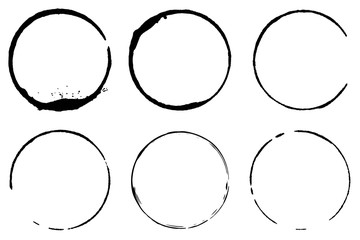 Vector set of cofee ring stains. Grunge style design element
