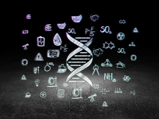 Science concept: DNA in grunge dark room
