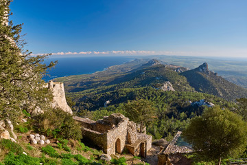 View of Northern Cyprus mountains from Kantara castle