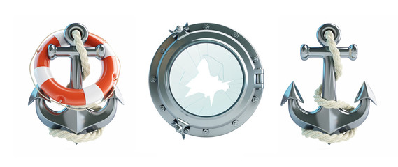Set Anchor, Life Buoy, porthole broken 3d Illustrations on a white background