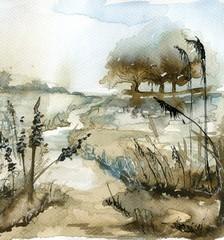 Garden Poster Painterly Inspiration watercolor landscape