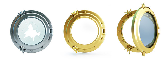 Set Porthole 3d Illustrations on a white background