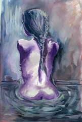 woman, watercolor painting