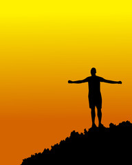 sunset with a person with open arms