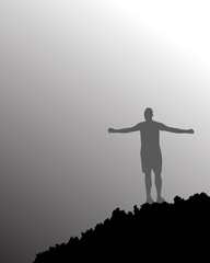 person with open arms with grey sky