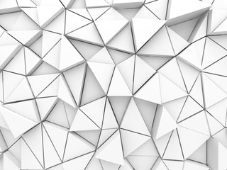 Abstract architectural white triangle low poly background