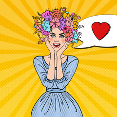 Pop Art Beautiful Woman in Love with Flowers Hairstyle. Vector illustration