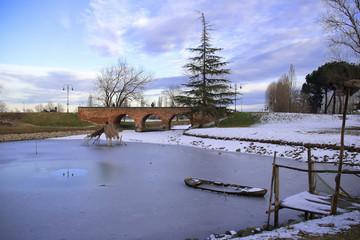 Scorcio del parco all'abbazia di Pomposa.Emilia Romagna.Italia.