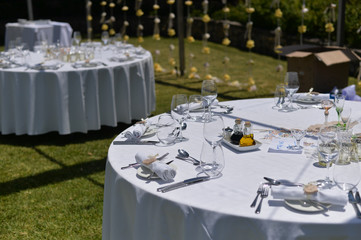 Special event celebrating with catering arrangement on park garden outdoors background