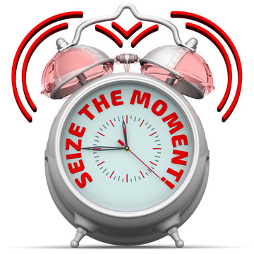 Seize the moment. The alarm clock with an inscription