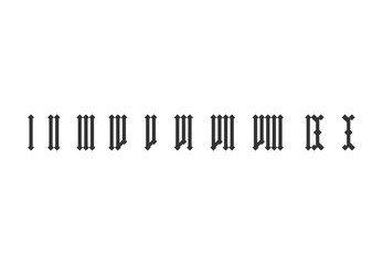 Roman numeral set from one to ten